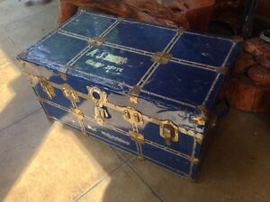 Rustic Metal Steamer Trunk