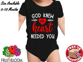 Baby Bodysuits, God Knew My Heart Need You, Vinyl Print, Free P&P