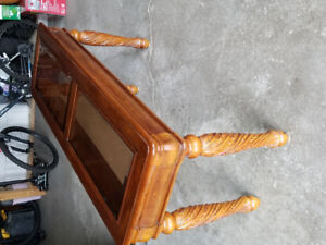 Solid wood table with glass top