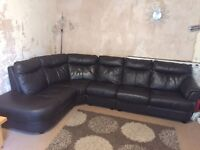 Leather corner sofa, swivel chair and storage pouffe