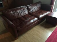 Leather Settee, Armchair and storage footstool