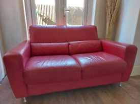 Free to collect red leather 2 seater sofa