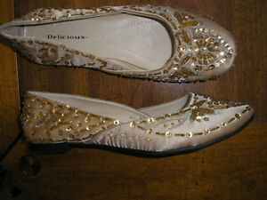 Gold Satin Flat Shoes with Ornate Beadwork - Brand New