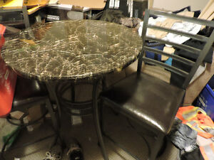 Bar Style Marble Top Table & 2 Chairs