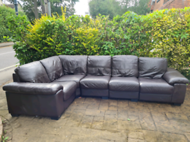 4-5 seater modular corner sofa, dark brown leather