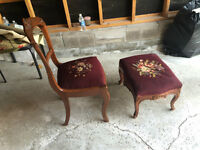 Antique Chair and Matching Ottoman