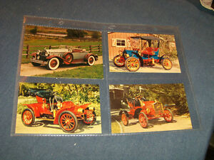 4 ANTIQUE AUTO POSTCARDS-UNUSED-MAXWELL-PACKARD-ROADSTER+