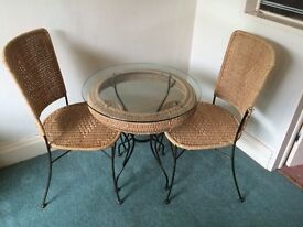 Glass, Wicker and Metal Bistro Set.