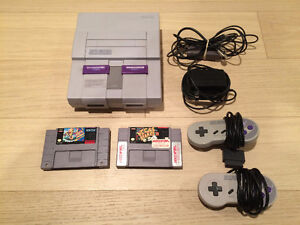 Super Nintendo System with 2 Controllers, 2 Games, All Hook Ups