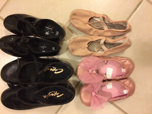 Girl tap and ballet shoes