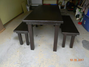 Solid Oak Mission style table with benches