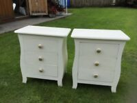 PAIR OF WHITE BEDSIDE CUPBOARDS