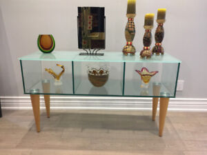 Glass Display Stand Table w/ Wooden Legs
