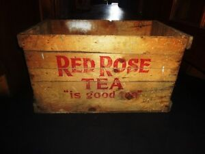 Vintage Rare Extra large Red Rose Tea Crate