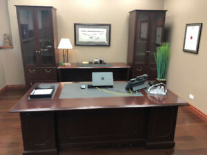 Cherry Finish Office Furniture Set