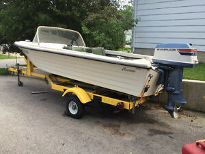 Munro 15 ft. Fibreglass Boat, Motor & Trailer