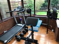 Treadmill and Weights Bench/Weights