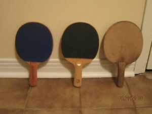 3 Table Tennis Racquets, 2 rubber; 1 sandpaper surface