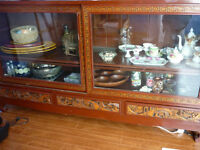 ANTIQUE HAND-CARVED ASIAN TEAK SIDEBOARD