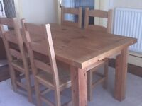6 chairs with kitchen dinner table. Excellent condition.