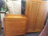 Mamas & papa baby or toddler bedroom wardrobe and chest of draws birkenhead