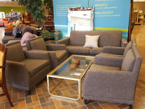 5-Piece Set - Contemporary Couch and 4 Matching Armchairs