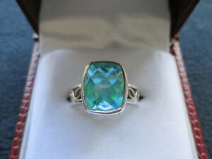 Ladies' Sterling Silver Ring With Aqua Synthetic Stone - Sz 8