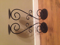 2 metal candle stands