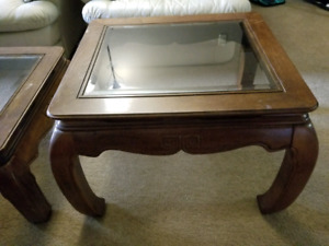 Traditional solid wood coffee table and End table