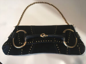 GUCCI black suede gold studded horse-bit bag – limited edition