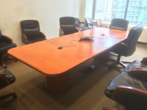 Office meeting room furniture (long table, various chairs)