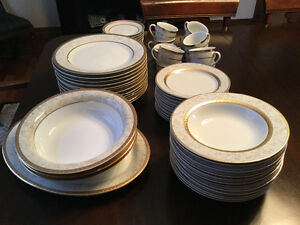Dinner Party Ready- 12 place setting porcelain-dishwasher safe