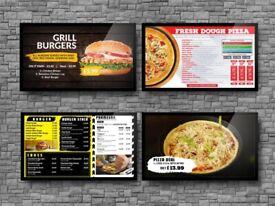 Signage Screens – Menu boards for Takeaway – Advertisement Screens.