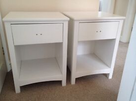 White 1 drawer solid wood bedside table (£50 each) 2 available (new ex display)