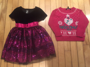 Girls size 4 Holiday Dress and Christmas sweater