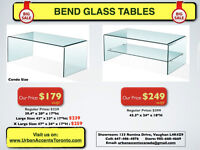 WATERFALL BENDGLASS CONDO SIZE COFFEE TABLE NU IN BOX $179