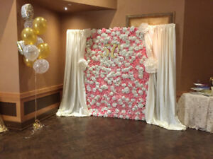 Flower wall rent pink and white