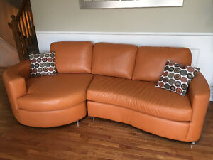 Matching bonded leather sectional sofa & loveseat chair