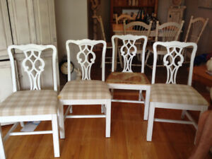 Good quality chairs to be reupholstered- painted white.