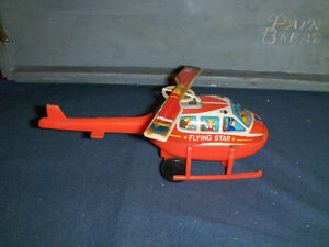 JIMMY TOYS FLYING STAR HELICOPTER-1970S-METAL/PLASTIC-VINTAGE!