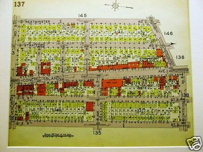 BROOKLYN MAP 1929 MIDWOOD CONEY ISLAND AVE C Art Matted