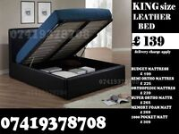 KING SIZE LEATHER STORAGE BED FRAME WITH MATTRESS OPTIONS
