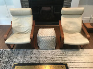 2 Ikea Poang chairs (leather)
