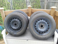 4 Kumho 195/64R15 Winter Tires on Rims