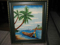 FRAMED - PAINTED STAINED GLASS - TROPICAL BEACH BAY SCENE
