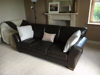 2 x Three seater leather sofas
