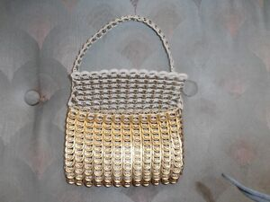 gold tin can tabs evening handle purse