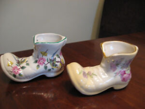 OLD FOLEY  ENGLAND CHINESE ROSE and PINK  ROSE  PORCELAIN BOOTS