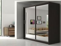 SAME DAY DROP- WOW Brand New Berlin Full Mirror 2 Door Sliding Wardrobe in Black Walnut White