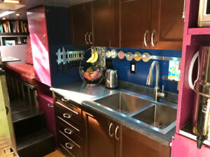 "SMALL KITCHEN 60"" WIDE WITH SINK FAUCET COUNTER TOP AND CABINETS"